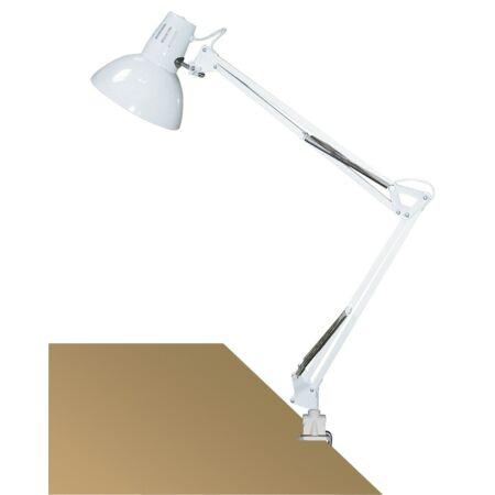 Rábalux Arno asztali lámpa - fehér, fém satuval
