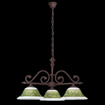 Rábalux Elizabeth 3 ágú függeszték - kézzel festett - antik barna - zöld